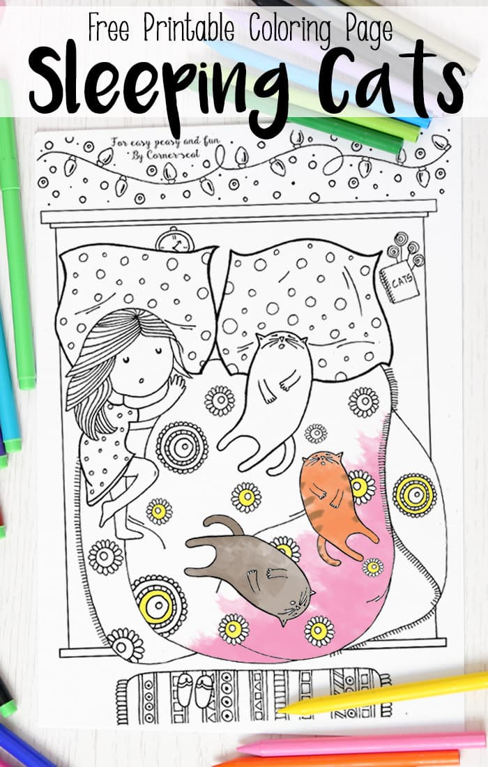 Sleeping Cats Coloring Page Coloring Pages For Adults Easy Peasy And Fun