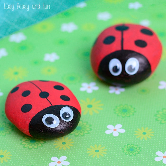 Cute Painted Ladybug Rocks by Easy Peasy and Fun