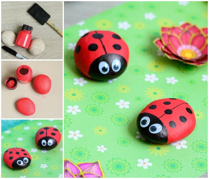Cute Painted Ladybug Rocks  Rock Crafts for Kids  Easy Peasy and Fun