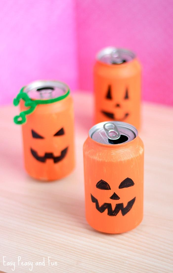tin can pumpkin craft