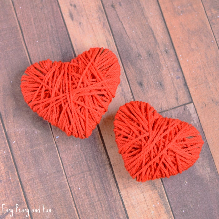 Yarn Wrapped Hearts Craft Valentines Day Crafts Easy