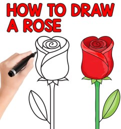how to draw a rose step by step for kids and beginners [ 1080 x 1080 Pixel ]