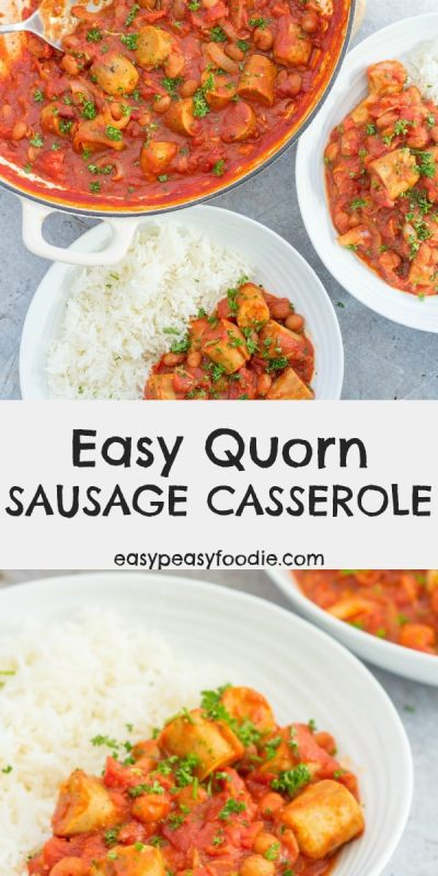 Warming and comforting, my Easy Quorn Sausage Casserole is perfect for chilly evenings. Serve with mashed potatoes, baked potatoes or rice for the edible equivalent of a big warm hug! #quorn #sausagecasserole #sausages #veggiesausages #quornsausages #quornsausagecasserole #easydinners #familydinners #midweekmeals #easypeasyfoodie