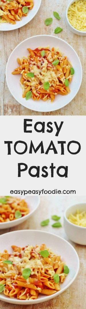 This Easy Tomato Pastarecipe is my fallback plan. If I get stuck, I always know I can make a great tasting meal (that my kids will definitely eat) in under20 minutes, using things I always have in my kitchen. Phew! #pasta #tomato #basil #easydinners #quickdinners #cheese #easypeasyfoodie