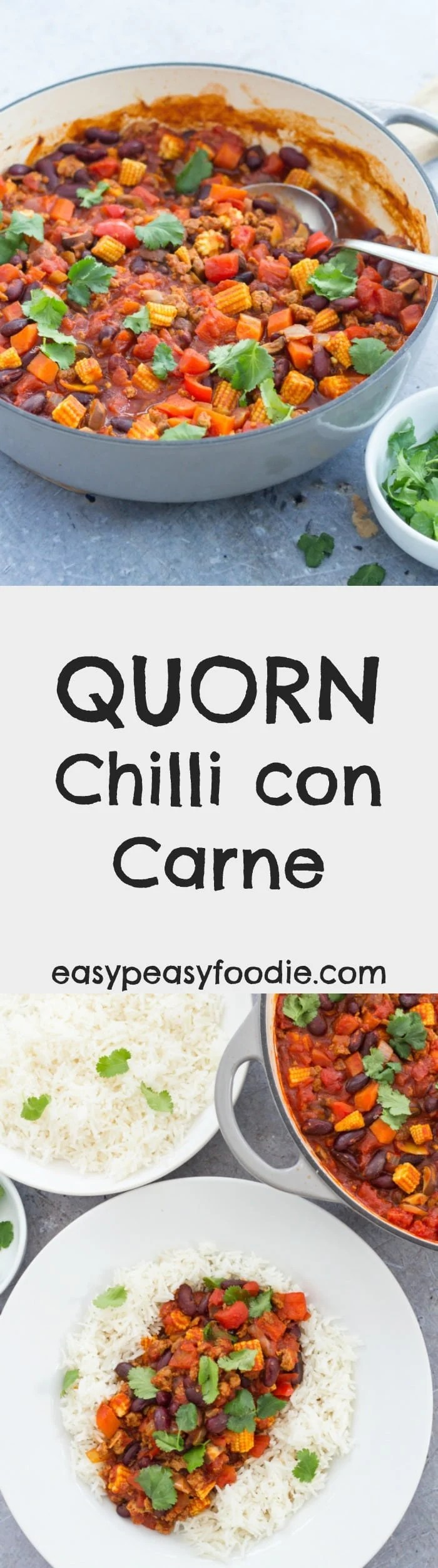Easy and nutritious, this Quorn Chilli Con Carne is ready in just 20 minutes, making it perfect for busy weeknights! I've kept the chilli level quite mild so it's great for kids (and chilli wimps)…but feel free to add more if you like your chilli con carne HOT! #quorn #chilli #chili #chilliconcarne #vegetarian #veggiechilli #kidneybeans #babycorn #mushrooms #carrots #tomatoes #rice #easydinners #under30minutes #easyrecipes #midweekmeals #easypeasyfoodie
