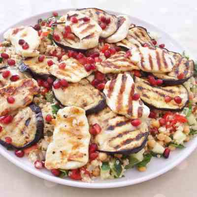 Aubergine and Halloumi Salad