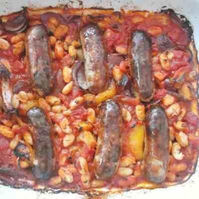 Sausage, Tomato and Bean Traybake