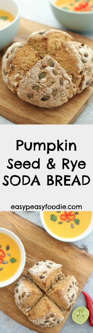 This Pumpkin Seed and Rye Soda Bread is ready in just 40 minutes and requires no kneading or proving - hooray!! Perfect for when you want the deliciousness of homemade bread, but haven't got much time. #bread #sodabread #ryebread #ryesodabread #quickbread #nokneadbread #easypeasyfoodie