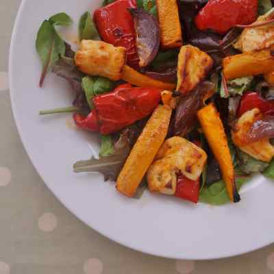 Warm Butternut Squash, Harissa and Halloumi Salad
