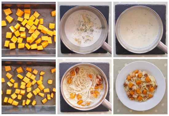 Stilton Squash and Walnut Pasta Collage 1