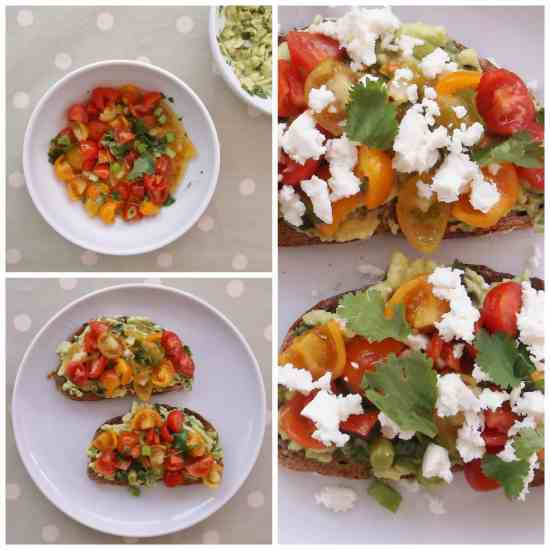 Avocado on Toast with Feta, Lime, Coriander and Pomegranate