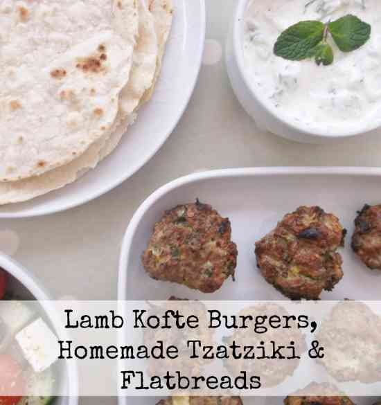 Lamb Kofte Burgers with Homemade Tzatziki and Flatbreads: These lamb kofte burgers came about because when I made lamb koftes the normal way, on skewers, I found it a bit fiddly and messy. One day in frustration I took the lamb mixture off the skewers and reshaped it into burgers. This made the whole process of cooking them much easier and a whole lot less fiddly and is the way I always do it now.