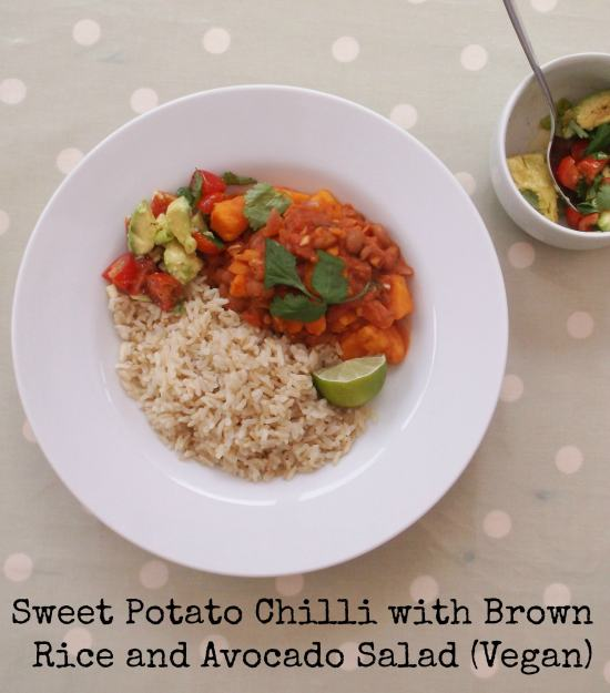 Sweet Potato Chilli with Brown Rice and Avocado Salad (Vegan) - Quick and easy sweet potato chilli served with a simple avocado salad and wholesome brown rice. Accidentally vegan, intentionally delicious!