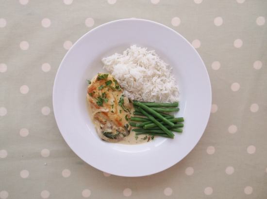 Chicken in a Cream and Mushroom Sauce