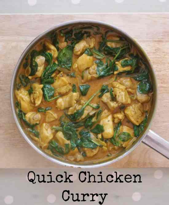 This quick chicken and spinach curry is a super simple dish to throw together. It takes well under half an hour and only uses 6 ingredients.