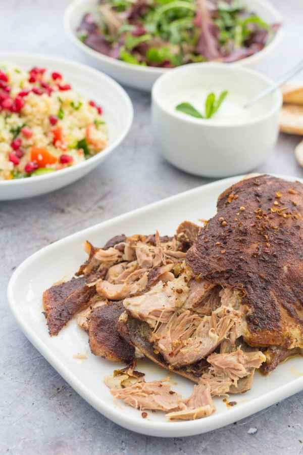 Slow Roast Ras el Hanout Lamb with Pomegranate and Quinoa Tabbouleh