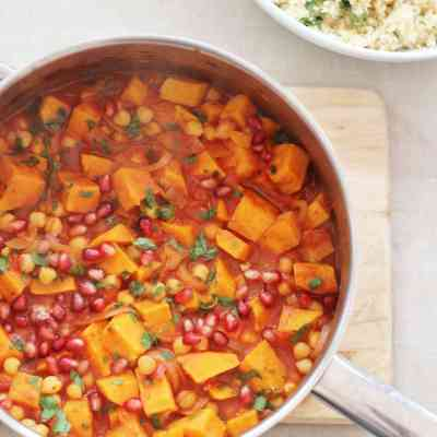 Harissa, Sweet Potato and Chickpea Tagine with Lemon and Coriander Couscous (Vegan)