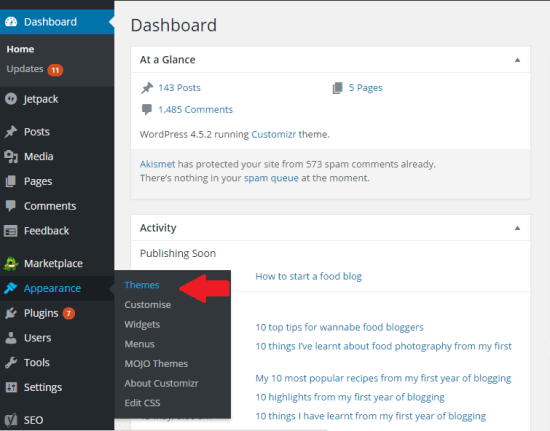 Bluehost WordPress Appearance Themes