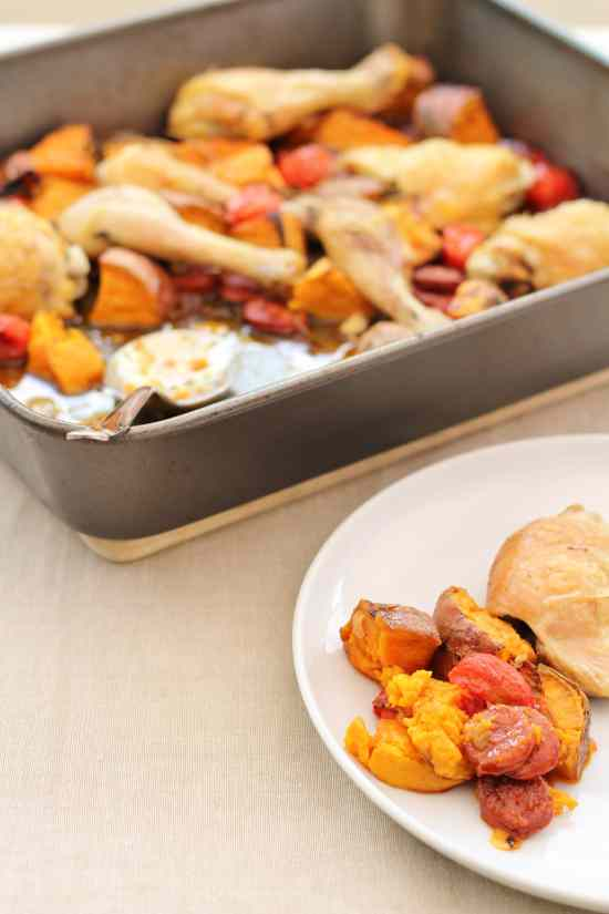 Chorizo, Chicken and Sweet Potato Traybake