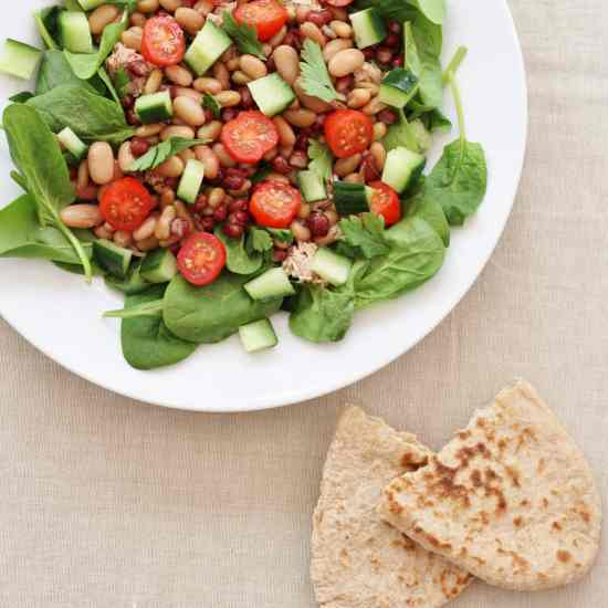 Tuna, Mixed Bean & Spinach Salad