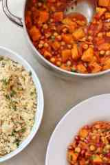 Harissa, Sweet Potato and Chickpea Tagine with Lemon and Coriander Couscous
