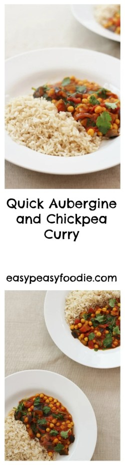 Quick Aubergine and Chickpea Curry