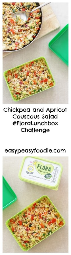 Chickpea and Apricot Couscous Salad #FloraLunchbox Challenge | easypeasyfoodie.com