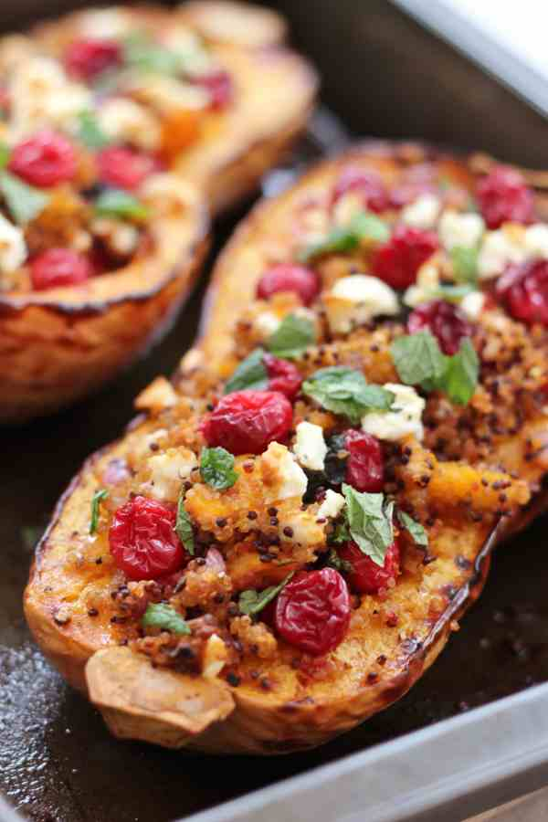 Cranberry, Feta and Quinoa stuffed Butternut Squash