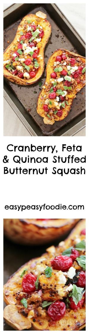In need of a gorgeous vegetarian Christmas main that's easy to make and can be prepared in advance? This Cranberry, Feta and Quinoa stuffed Butternut Squash could be exactly what you are looking for! It's also gluten free, can easily be adapted to make it vegan and dairy free, and is chock full of goodness!! #cranberries #feta #quinoa #squash #vegetarian #christmas #veggiechristmas #glutenfree #glutenfreechristmas #easyentertaining #easychristmas #easypeasyfoodie