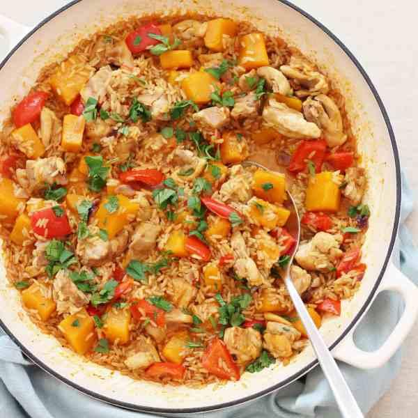 One Pot Harissa Chicken and Butternut Squash Pilaf