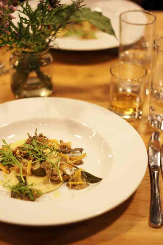 Celeriac Ravioli with Wild Mushrooms at the River Cottage