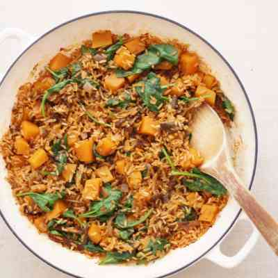 One Pot Wild Mushroom, Squash and Spinach Pilaf (Vegan)