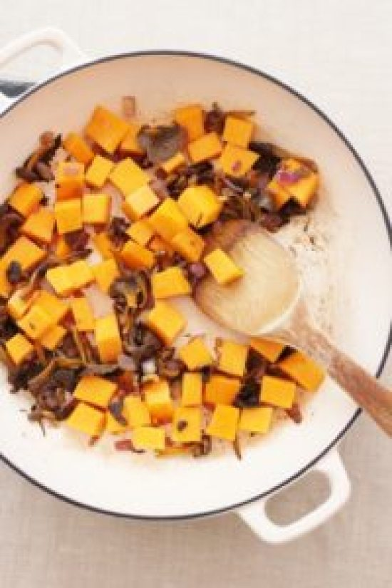 Wild Mushroom, Squash and Spinach Pilaf