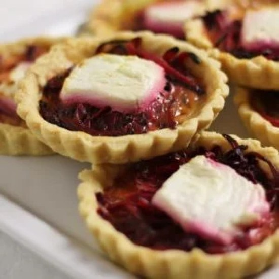 Beetroot, Onion and Goats Cheese Tarts