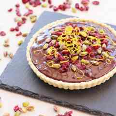 Chocolate Tart with Cranberries, Orange and Pistachios