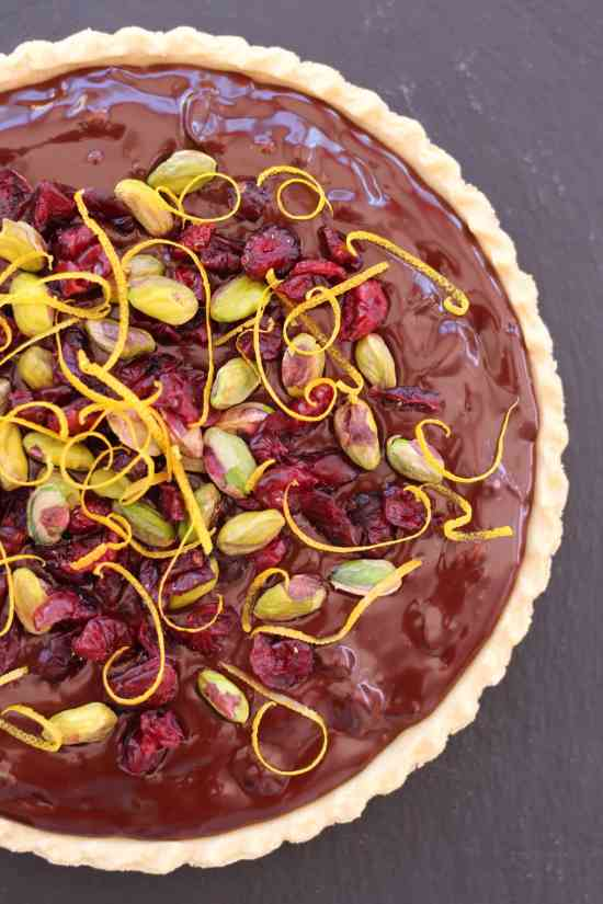 Cranberry, Pistachio and Orange Chocolate Tart