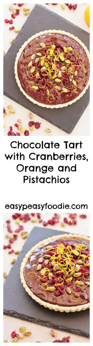 Rather decadent, but deliciously easy, this Chocolate Tart with Cranberries, Orange and Pistachios is great as an alternative to Christmas pudding or perfect for a Christmas party. And it only takes 10 minutes to make!! Yes, you read that right :-) #christmas #christmaspuddingalternative #chocolate #cranberries #orange #pistachios #stressfreechristmas #easypeasychristmas #easypeasyfoodie