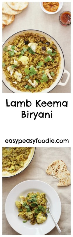 A simple, quick and totally tasty lamb recipe, this Lamb Keema Biryani is a perfect midweek meal for when time is tight, but delicious enough for the weekend too. #lamb #keema #biryani #rice #onepot #easydinners #midweekmeals #easypeasyfoodie