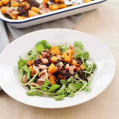 Leftover Ham, Squash and Puy Lentil Salad