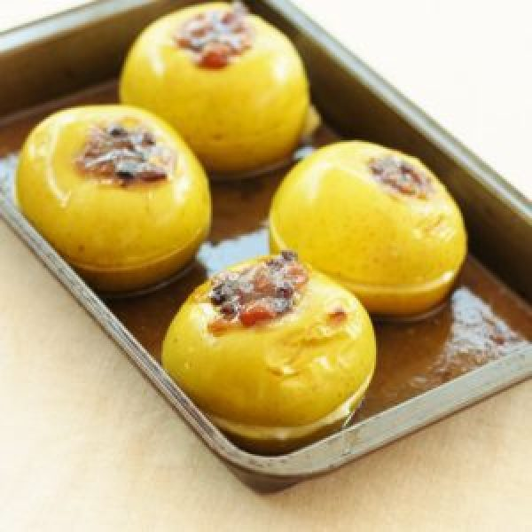 Baked Apples with Mincemeat, Maple Syrup and Brandy Butter