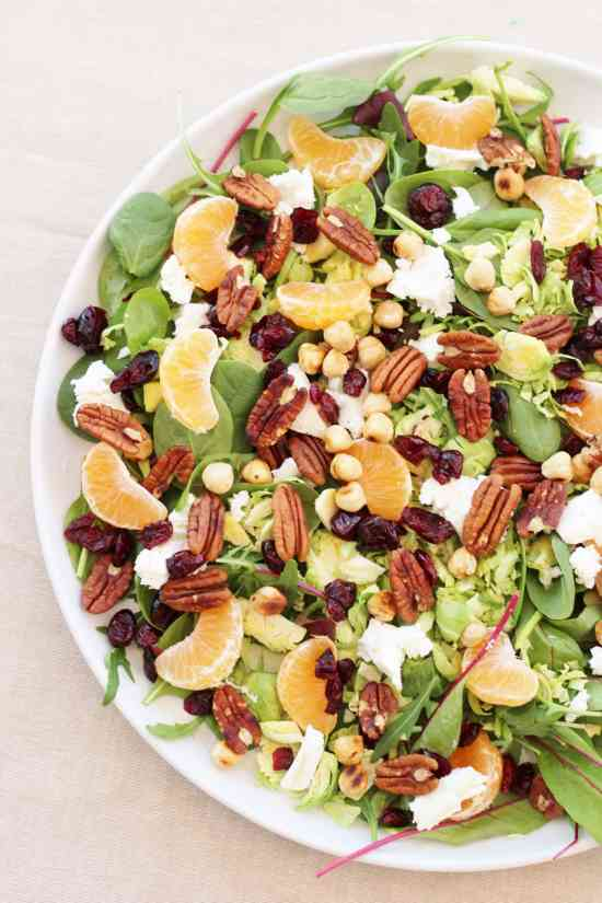 Sprout Salad with Cranberries, Pecan nuts and Clementines