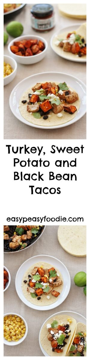 Stuck for ideas for your leftover turkey? Want to do something tasty, but also quick and easy? Want something other than turkey curry or turkey sandwiches this year? Then why not try my Turkey, Sweet Potato and Black Bean Tacos? #leftover turkey #turkey #leftovers #sweetpotato #blackbeans #tacos #wahaca