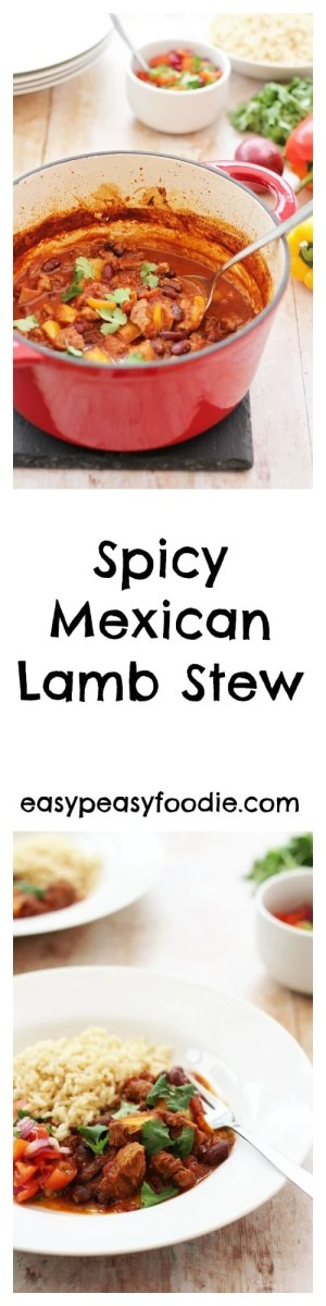 Inspired by a traditional Mexican mole, this Spicy Mexican Lamb Stew is full of warming spices and just a touch of cocoa. With less than 15 minutes prep time, this recipe is perfect for busy weeknights. #mexican #lamb #mexicanmole #lambmole #mexicanlamb #mole #stew #lambstew #spicylambstew #easydinners #midweekmeals #familydinners #easypeasyfoodie