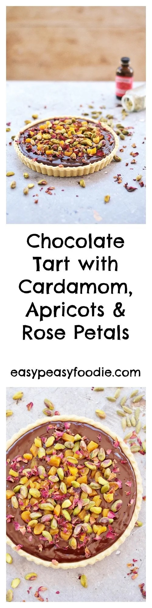 Rich, decadent and totally moreish, this middle eastern inspired Chocolate Tart with Cardamom, Apricots and Rose Petals is perfect for Valentine's Day or any day when you want a showstopping dessert without the hassle! #valentinesday #valentines #chocolatetart #roses #rosepetals #apricots #cardamom #dessert #easyentertaining #easypeasyfoodie