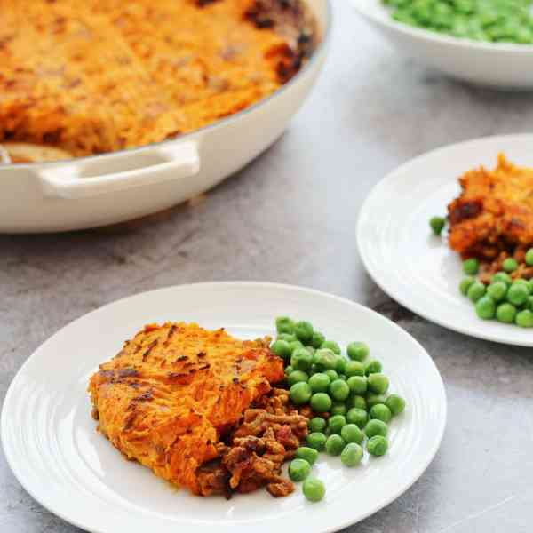 Curried Shepherds Pie with Sweet Potato Mash Topping