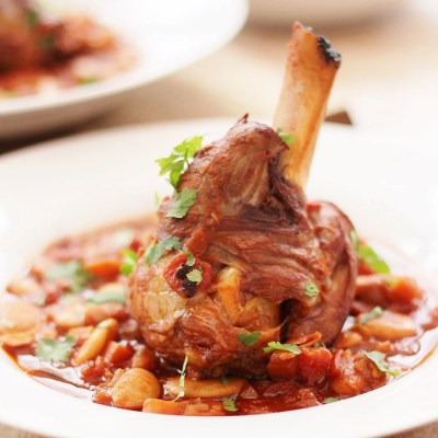 Spanish Style Red Wine, Borlotti Bean and Lamb Shank Casserole