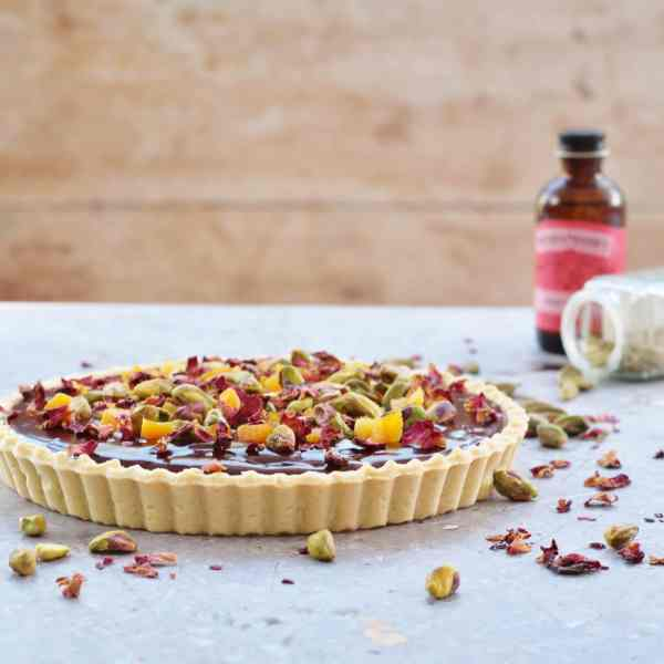 Valentine's Day Chocolate tart with Cardamom, Apricots and Rose Petals