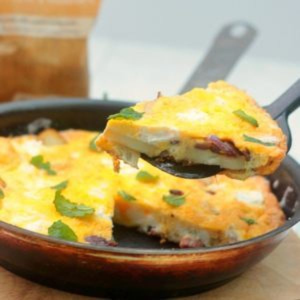 New Potato, Pancetta & Goats Cheese Frittata