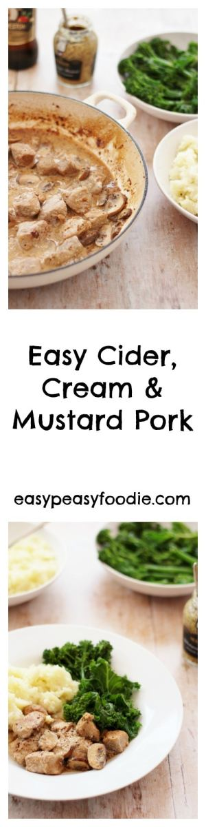 My favourite recipes are those which taste like they are from a fancy restaurant, but are actually really quick and easy to do. This Easy Cider, Cream and Mustard Pork is definitely one of those recipes! #pork #cider #mustard #easydinners #easyentertaining #midweekmeals #familydinners #easypeasyfoodie #cookblogshare #freefromgang