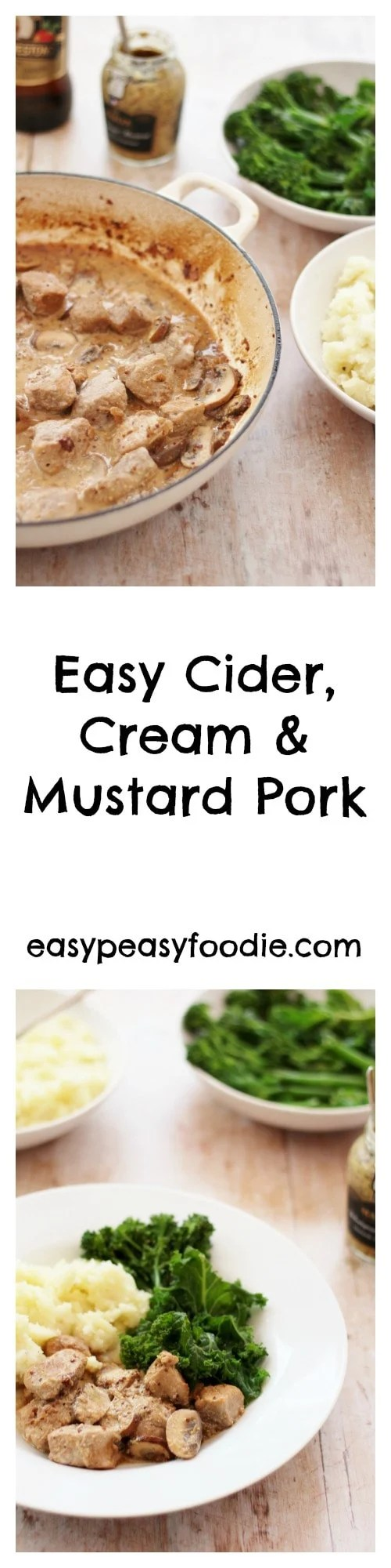 My favourite recipes are those which taste like they are from a fancy restaurant, but are actually really quick and easy to do. This Easy Cider, Cream and Mustard Pork is definitely one of those recipes! #pork #cider #mustard #easydinners #easyentertaining #midweekmeals #familydinners #easypeasyfoodie